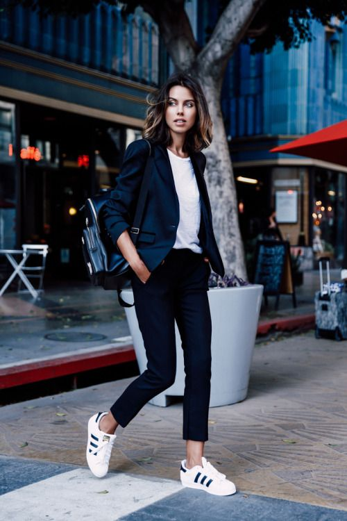 Annabelle Fleursuits up in this navy blazer and slacks...