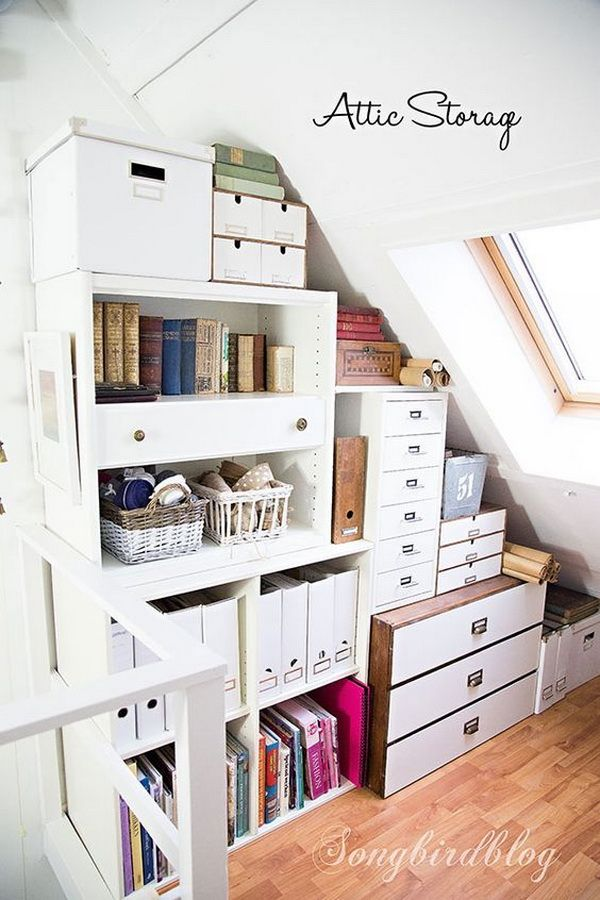Create More Attic Storage Space Using Stacking Cabinets, Book Shelves and Drawer Units .