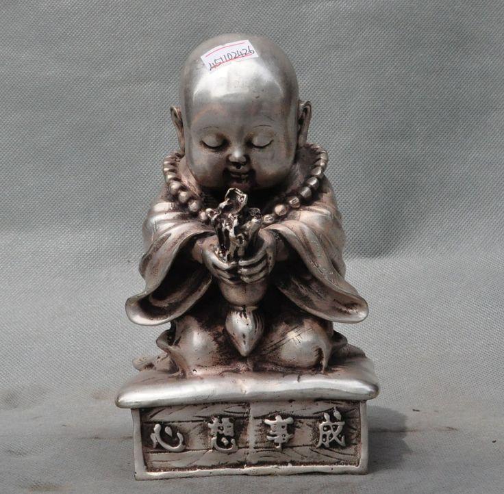 chinese buddhism silver pray buddhist monk buddha statue incense burner Censer