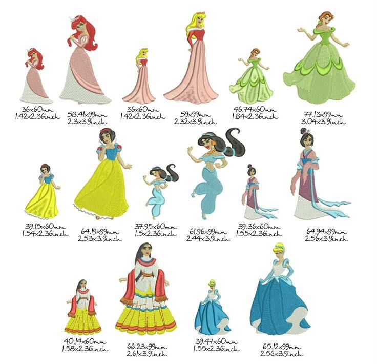 8 Принцесс Дисней по 2 размера дизайн машиной вышивки by Tamarladesign on Etsy
