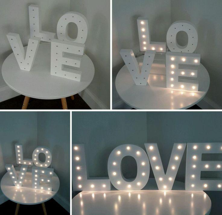 WHITE WOODEN 23CM LOVE LETTERS, LED LIGHTS - WEDDING, HOME DECOR