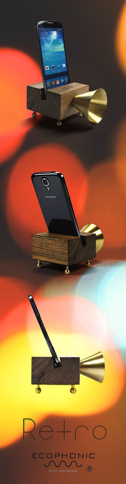Retro Ecospeaker - Wood and Brass for smartphones   Ecophonic