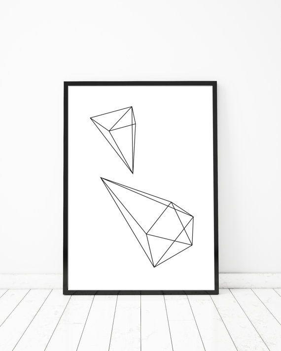 Geometrische Diamond moderne Scandinavische van BlacknBoo op Etsy