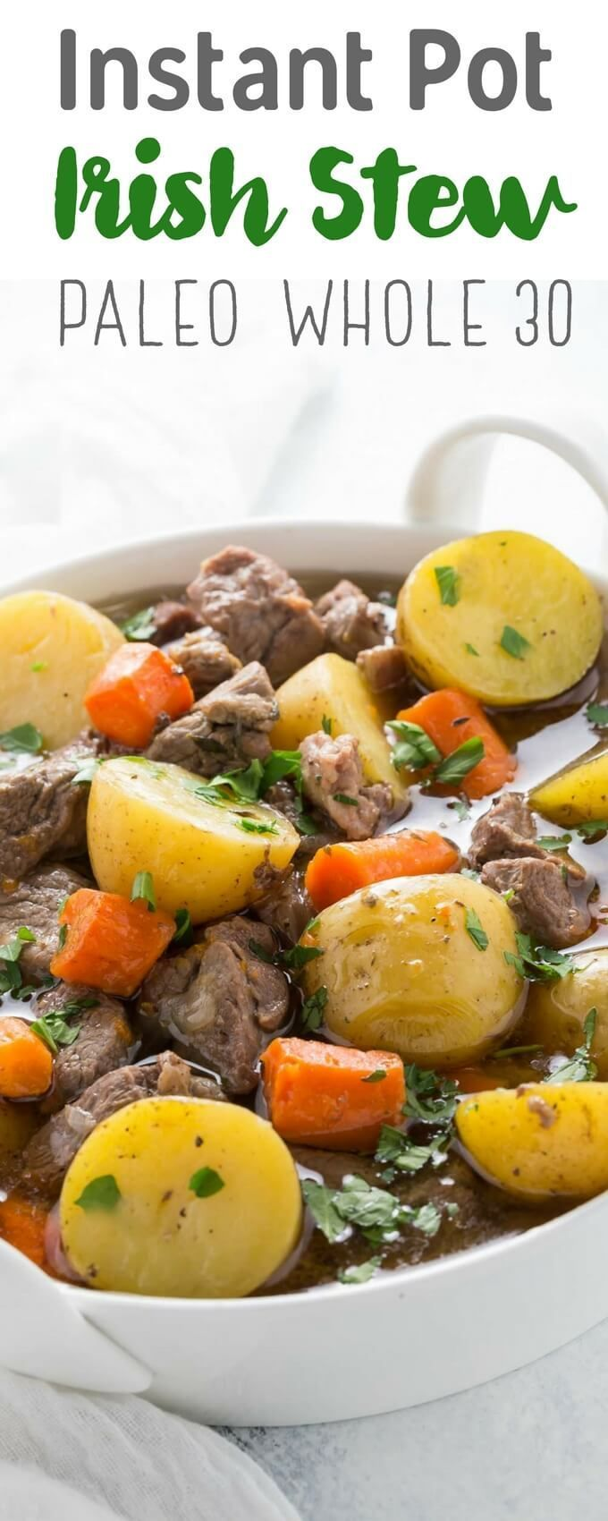 Pressure cooker Irish stew is an adaptation of a classic recipe with lamb, potatoes, carrots and herbs. It's gluten free, paleo and whole30, perfect for your Instant Pot or other electric pressure cooker. A great St Patricks' Day recipe too. | https://lom