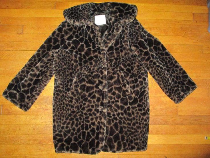 UNITED COLORS of BENETTON sz L dark brown/tan animal print faux fur coat  #UNITEDCOLORSofBENETTON #BasicCoat