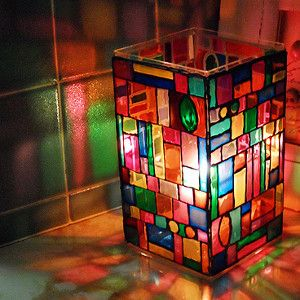 Stained Glass Mosaic Lamp, shown with faux stained glass, would be great with the real thing!