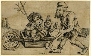 A beggar carrying his wife in a wheelbarrow; partly damaged at upper left corner Engraving