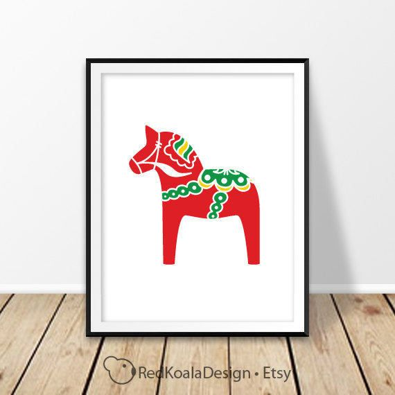 Scandinavian print, Swedish Dala horse, Nursery wall art, Red horse poster, Sweden, Kids room, Bedroom printable, Digial prints, Folk art by RedKoalaDesign on Etsy