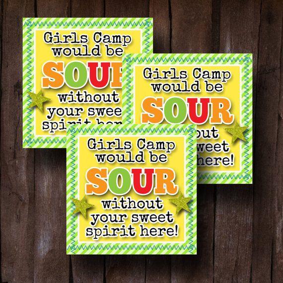 Lds Young Womens Girls Camp Pillow Treats Sour Candy Gram