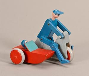 Kay Bojesen 1886-1958. Motorcycle with side carriage and figures, painted wood