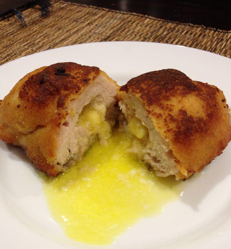CHICKEN KIEV - Crumbed lean chicken breast fillet filled with our own garlic butter.  Bake in 180°C oven for half an hour or shallow fry. #adamsfamilymeats #readypreparedmeal #chickenkiev #garlickiev #garlicchickenkiev #chicken