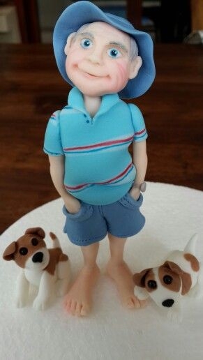 Old man and his dogs, fondant cake topper