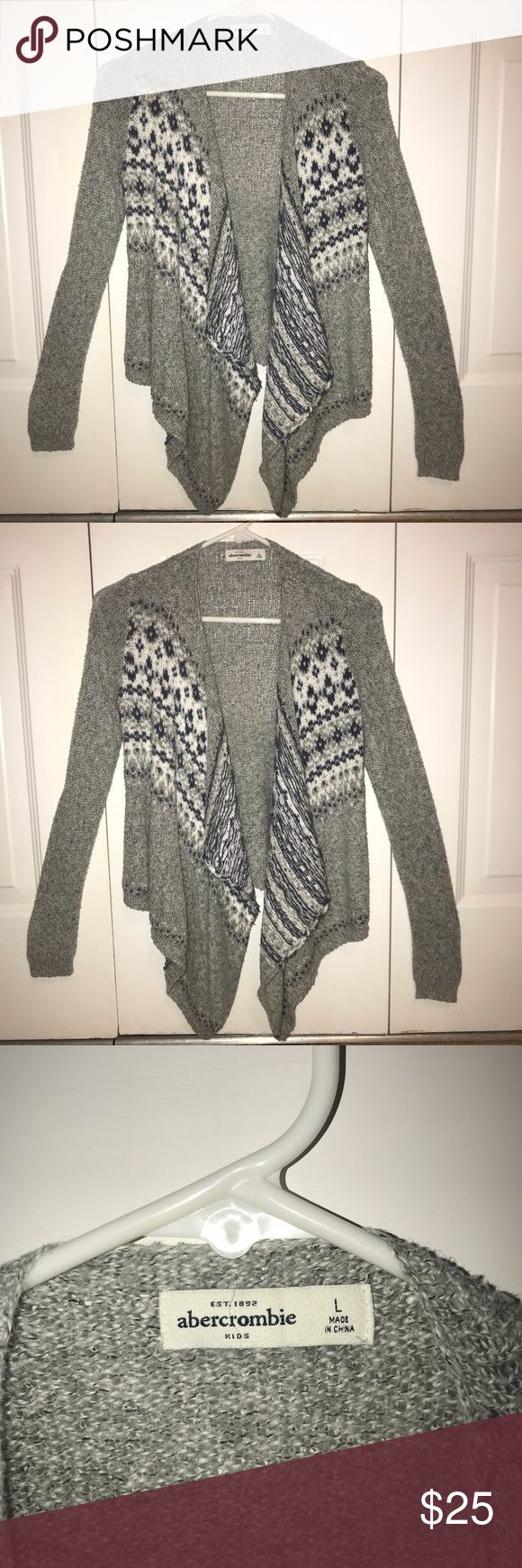 Abercrombie Kids Girls Grey Cardigan Light cardigan purchased from Abercrombie Kids. Has a little snag up near collar (pictured). Worn more than a few times! SIZE 13/14 (pictured) abercrombie kids Shirts & Tops Sweaters