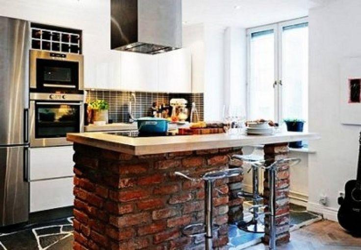 Cocinas con isla de ladrillo buscar con google - Cocina de ladrillo ...