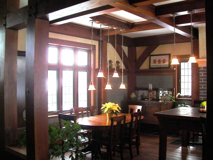 This is a really interesting dining room. Not sure if it's modern or in a historic house.