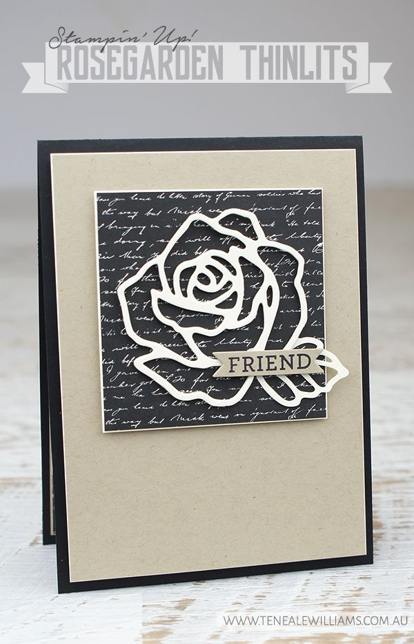 Teneale WIlliams   Stampin up Rose Garden Thinlits Dies   Clean and simple CAS handmade card in natural tones of Basic Black, Crumb Cake and Very Vanilla