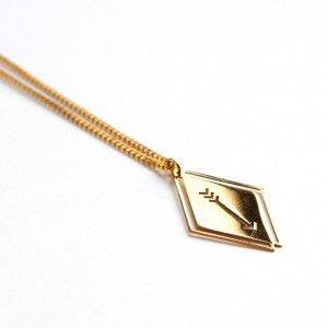 Collier HANNAH or flèche harrow gold 24 carats necklace