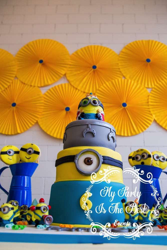 Awesome Minion cake at a Despicable Me birthday party! See more party ideas at CatchMyParty.com!