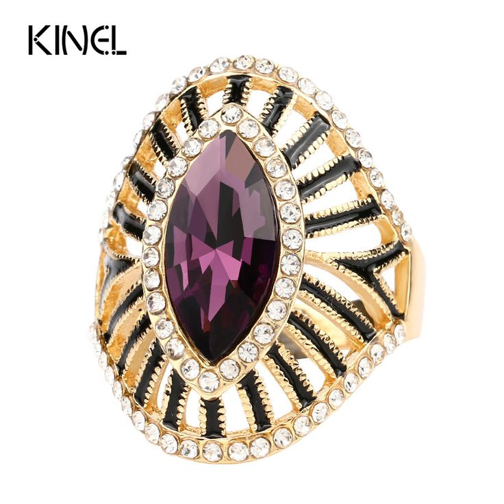 Fashion Purple Crystal Glass Engagement Ring Black Enamel CZ Diamond Gold Plated Rings For Women  Vintage Jewelry Wholesale