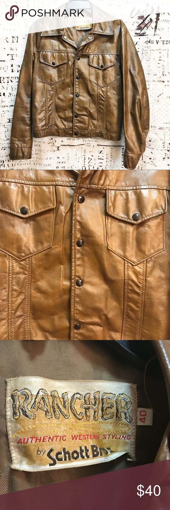"""Vintage Western Snap Front Leather Jacket Coat Crazy cool snap front jacket by Schott Bros. Rancher style western leather coat, super classic! In excellent exterior condition with minor signs of fraying along liner seam. Approx. measurements: 20"""" flat armpit to armpit, 11.5"""" armpit to bottom hem, 22"""" shoulder to bottom hem. Men's size 40 translates to a large, but please rely on measurements for fit! Vintage Jackets & Coats"""