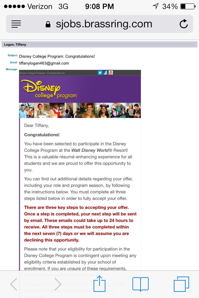Acceptance Letter   Disney College Program