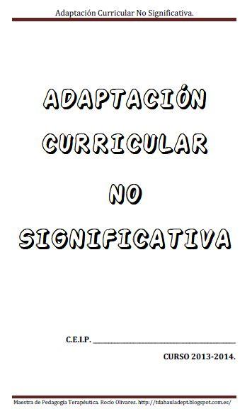 Adaptación curricular no significativa TDAH
