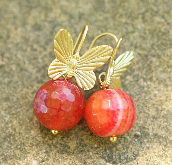 Jamie's Hand Made Gold Butterfly Red Dragon Vein Gemstone Earrings -E7