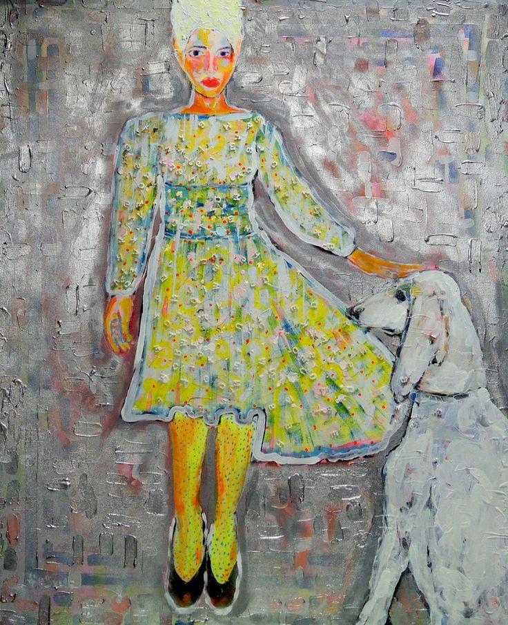 Henk Snoek ( Snelle) - vrouw met spikkeltjeskousen en blonde hond
