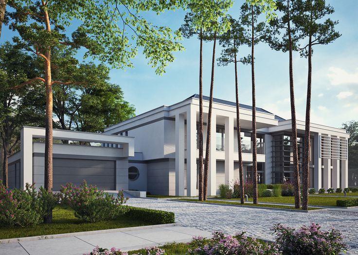 LK&1264 projekt rezydencji w stylu nowoczesnym #architektura #rezydencja #dom #projektydomów