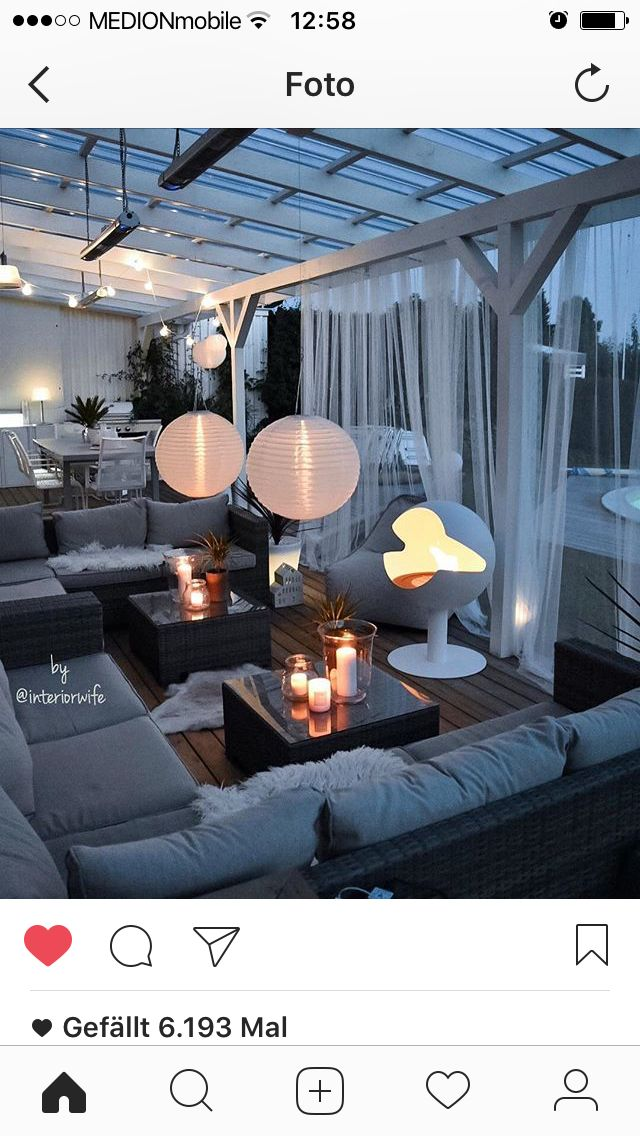 Nice curtains. Ideas for our outside areas and enclosed patio / lounge.