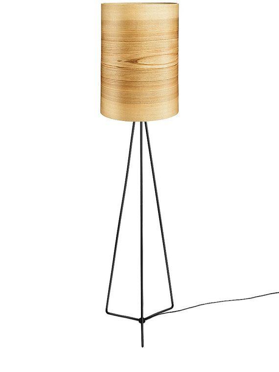 Floor Lamp JENS  Natural Ash Shade  Wood Floor Lamp by Sponndesign