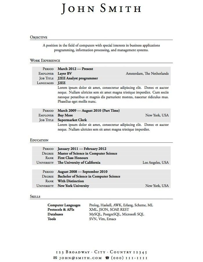 sample resume for students in college