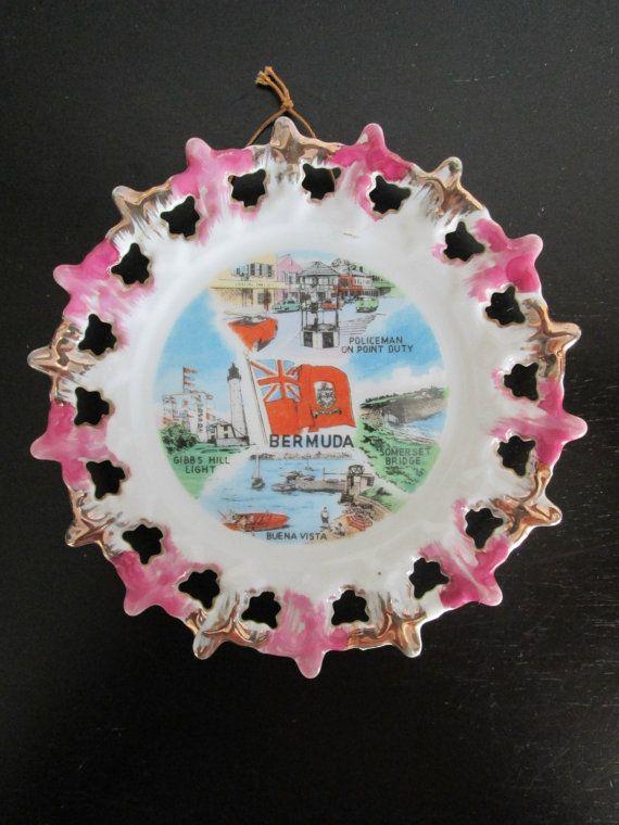 Souvenir Plate Bermuda Vintage Kitsch Decorative AtomicPutz.com