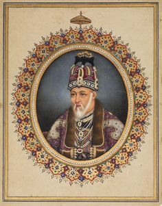 A portrait of Bahadur Shah II, Mughal, Delhi, circa 1845-55, gouache with gold on paper, illuminated border, gold and blue outer margin rules painting: 8.6 by 7.2cm. leaf: 16.5 by 13cm.