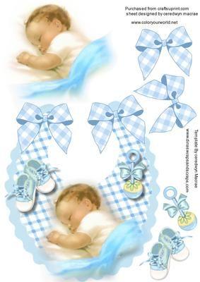 A beautiful Baby boy on a Bib  on Craftsuprint - Add To Basket!