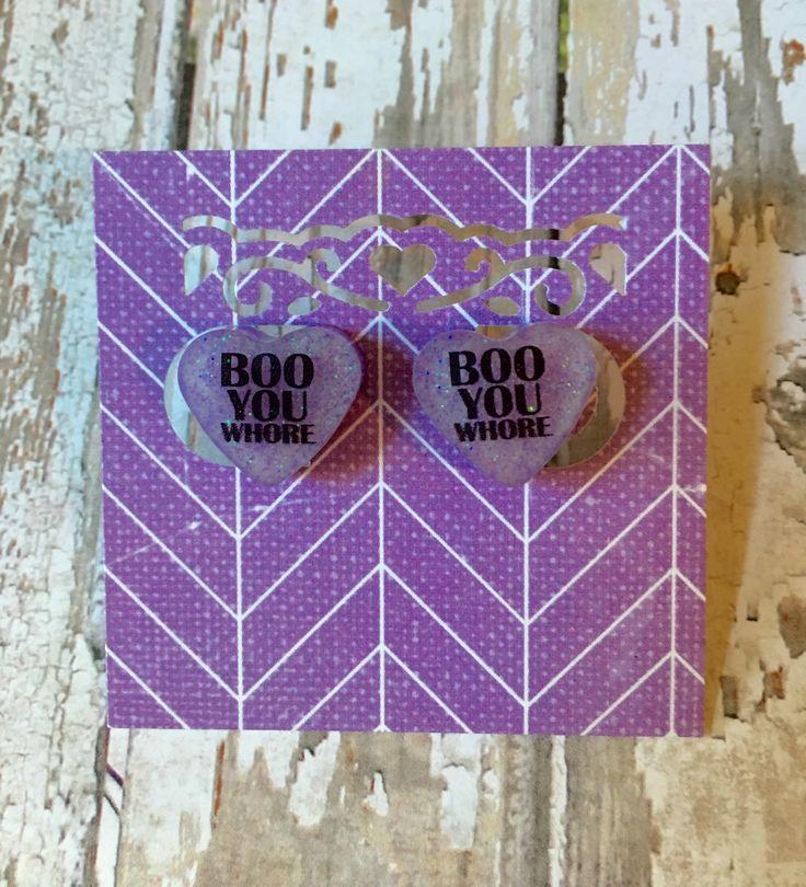 Kawaii Cute Pastel Goth Boo You Whore Mean Girls Purple Heart Shaped Glow In the Dark Stud Earrings with Glitter by Geek Freak Boutique, $12.50 USD