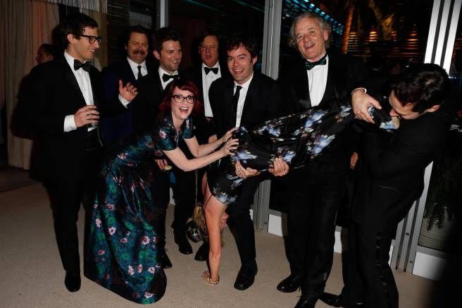 "Amy Poehler ""Poehler vortexing"": finally, LA gets their due; Andy Samberg, Nick Offerman, Adam Scott, Megan Mullally, Brian Doyle Murray, Bill Hader, Amy Poehler, Bill Murray, & Paul Rudd"
