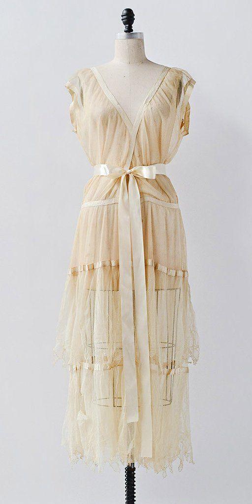 Harvest Gold Dress / vintage 1920s dress / vintage 20s tulle flapper dress