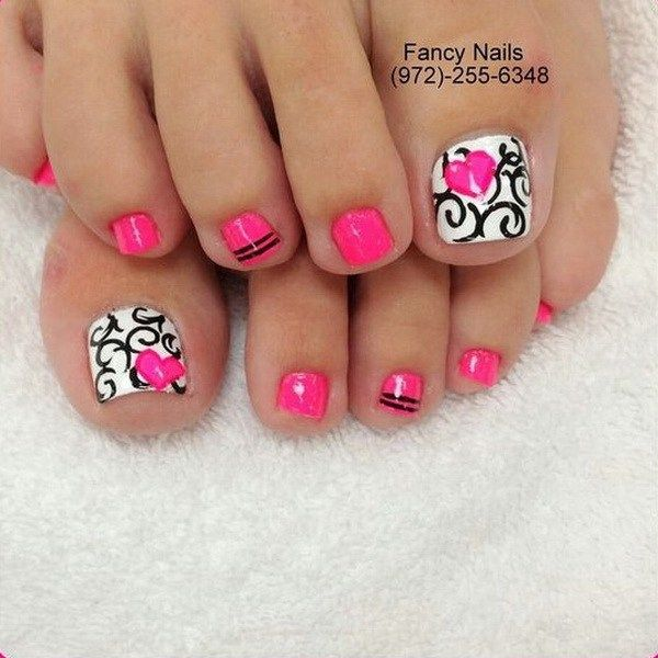 Pink, White and Black Toe Nail with Heart Shape and Swirls.