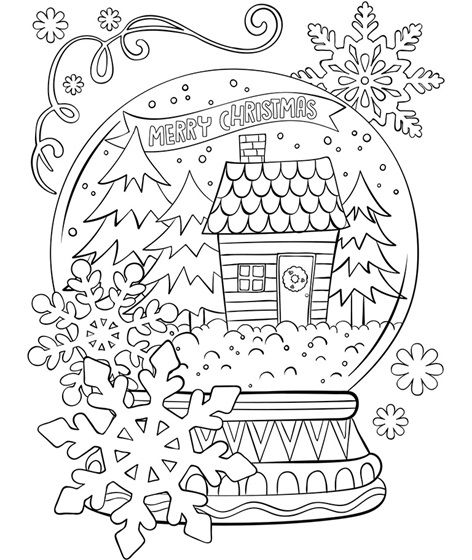 Merry Christmas Snowglobe Www Crayola Com Coloring Pages