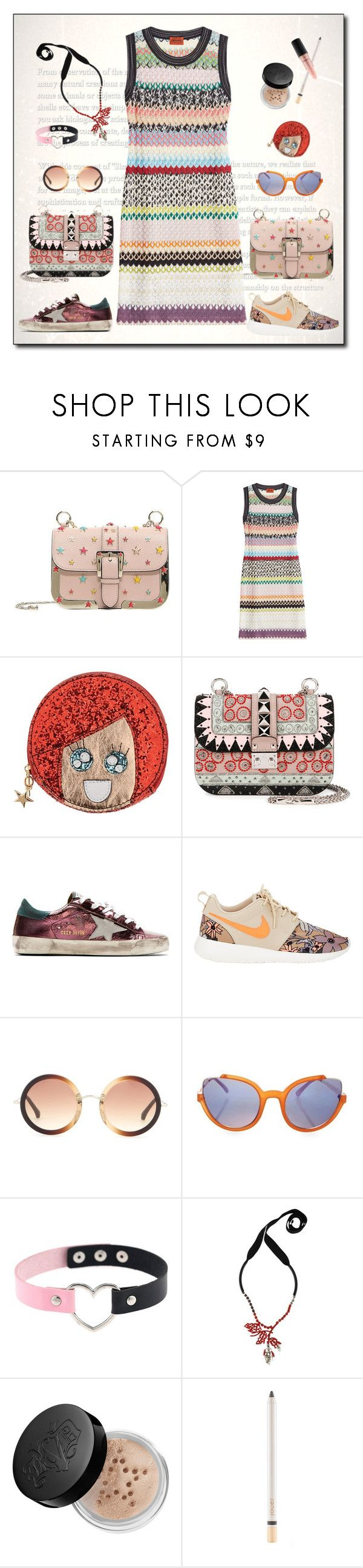 """Sporty Chic: Sneakers and Dresses"" by ysmn-pan ❤ liked on Polyvore featuring RED Valentino, Missoni, Argento Antico, Valentino, Golden Goose, NIKE, The Row, Marni, Kat Von D and Jouer"