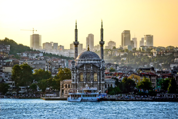 Contrast of the modern and old. Ortaköy, Istanbul, Turkey.