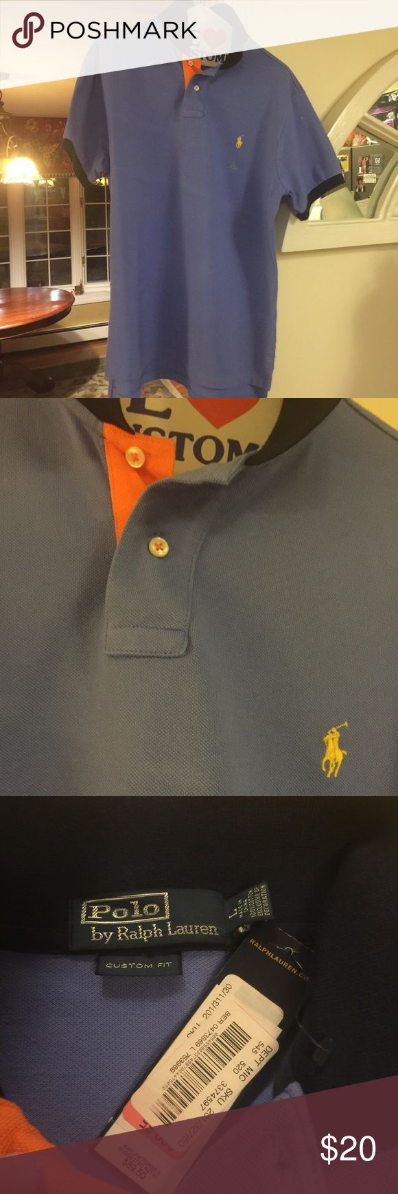 NWT RL Polo Custom Fit cotton pique polo shirt Brand new/never worn.  Bought for son who never wore it.  Pique cotton in blue, with navy collar and around arm sleeves, with yellow polo logo and a hint of orange at two front button closure. Polo by Ralph Lauren Shirts Polos