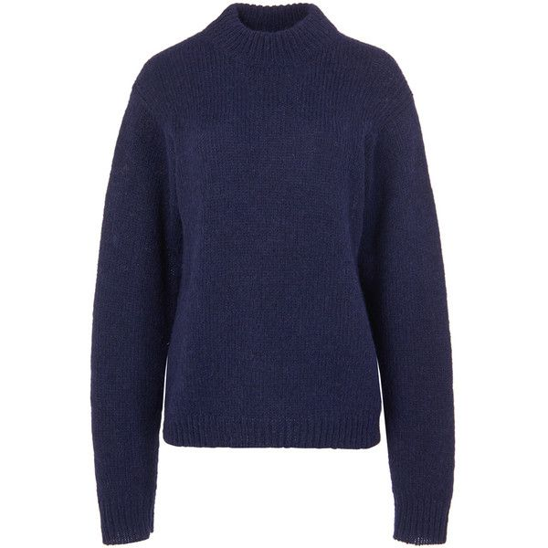 bfe529b920 Tibi Navy Cozette Alpaca Easy Pullover ( 425) ❤ liked on Polyvore featuring  tops