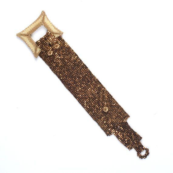 Beadwoven cuff bracelet. Beadwork. Beaded. Statement by Renarta