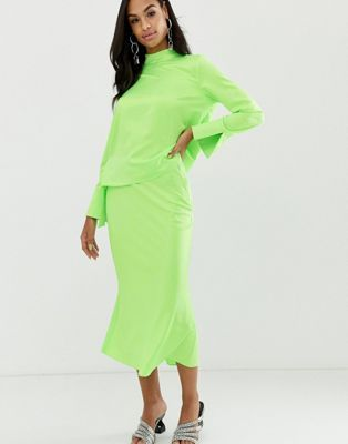 8f7cf3593a DESIGN bias cut satin slip midi skirt in neon in 2019 | What I want ...