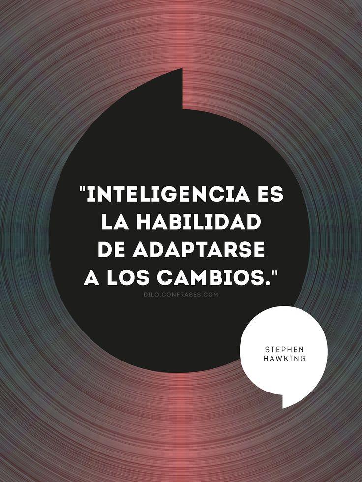 """""""Inteligencia es la habilidad de adaptarse a los cambios."""" - Stephen Hawking -"""