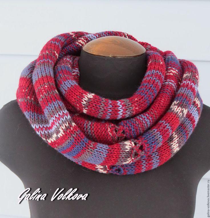 Купить Вязаный шарф снуд хомут мужской женский Яркий стиль - шарф, стильный шарф