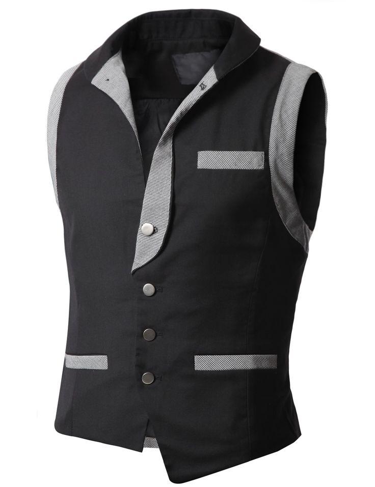 Mens Check Patched Vest Waistcoats (AV6)