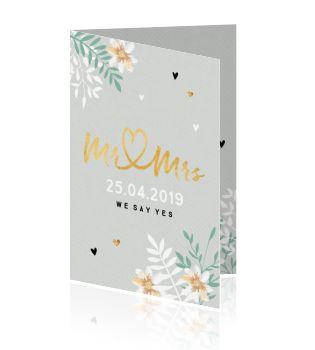 Soon to be Mr and Mrs prachtig verwerkt in goud binnen een stijlvol ontwerp. Een huwelijksuitnodiging die prachtig past op de papiersoort oud-hollands.
